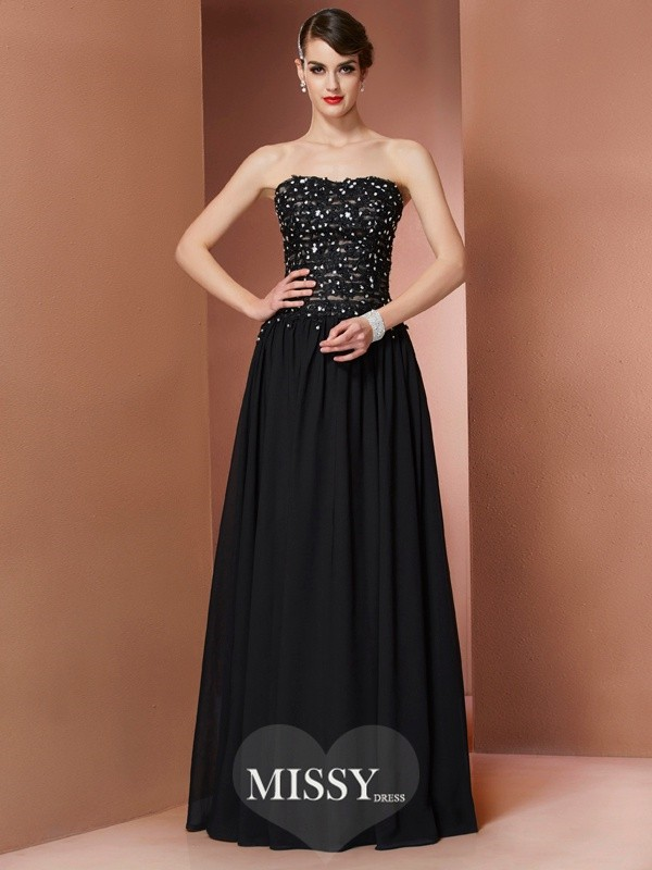 A-Line/Princess Strapless Beading Floor-Length Dresses