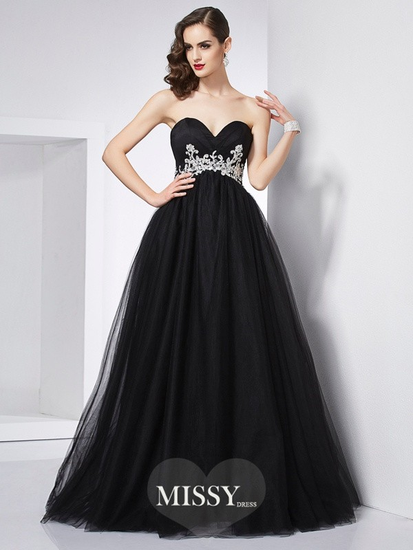 Ball Gown Sweetheart Applique Net Floor-Length Dresses