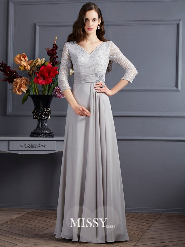 A-Line/Princess Chiffon V-neck 3/4 Sleeves Applique Floor-Length Dress
