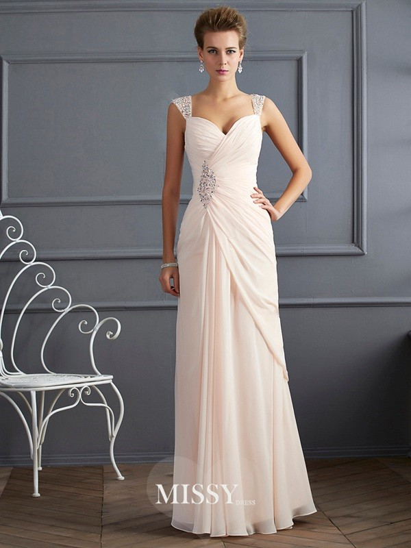 Sheath/Column Straps Beading Sleeveless Floor-Length Chiffon Dress