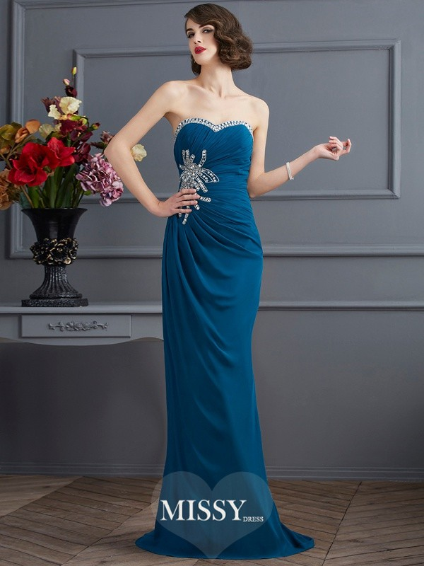 Sheath/Column Sweetheart Sleeveless Sweep/Brush Train Chiffon Dress