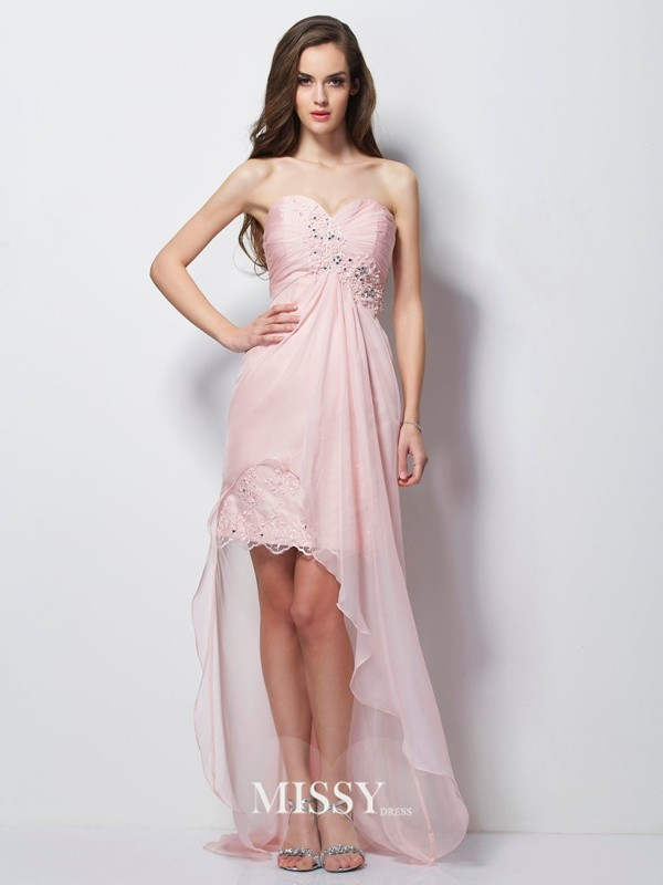 A-Line/Princess Sweetheart Sleeveless Applique Beading Chiffon Asymmetrical Dress