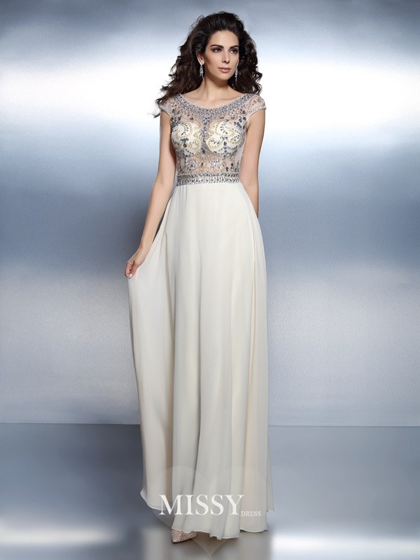 A-Line/Princess Bateau Short Sleeves Beading Floor-Length Chiffon Dresses