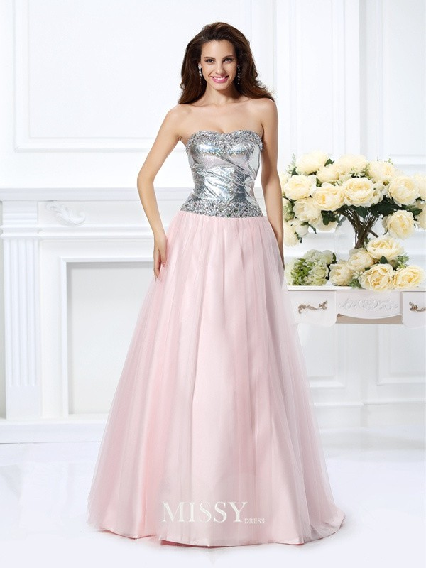 Sweetheart Ball Gown Beading Floor-Length Satin Dresses