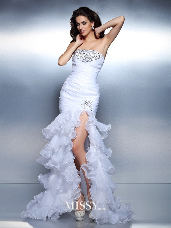 Trumpet/Mermaid Strapless Beading Ruched Floor-Length Organza Dresses