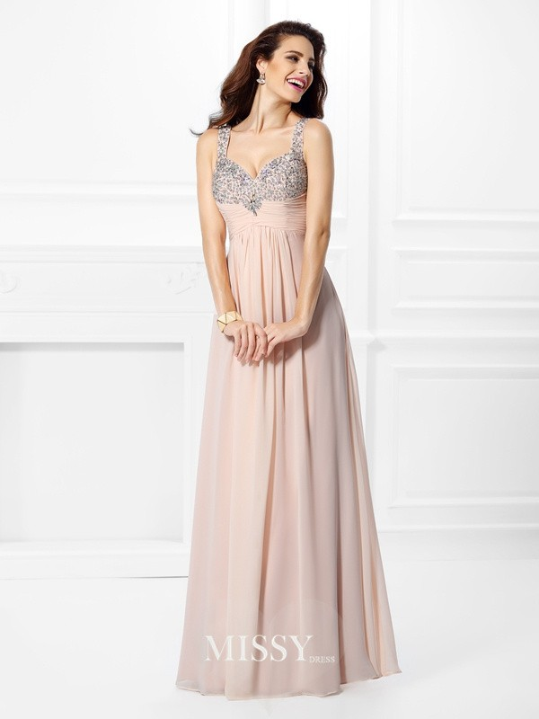 Princess Straps Chiffon Beading Floor-Length Dresses