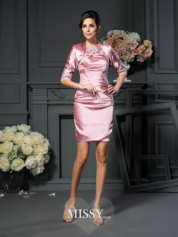 Sheath/Column Scoop Applique Sleeveless Short/Mini Elastic Woven Satin Mother of the Bride Gowns