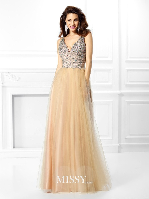 Ball Gown V-neck Beading Sequin Floor-Length Satin Dresses