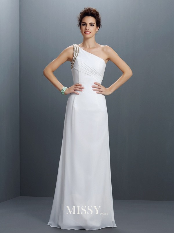 Sheath/Column One-Shoulder Beading Floor-Length Chiffon Dresses