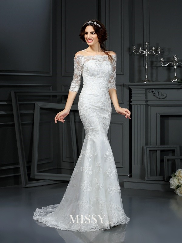 Sheath/Column Off the Shoulder 1/2 Sleeves Sweep/Brush Train Lace Wedding Dresses