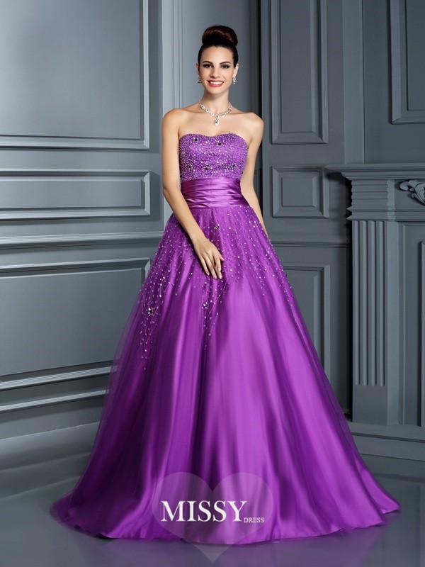Ball Gown Sweetheart Beading Long Satin Quinceanera Dresses