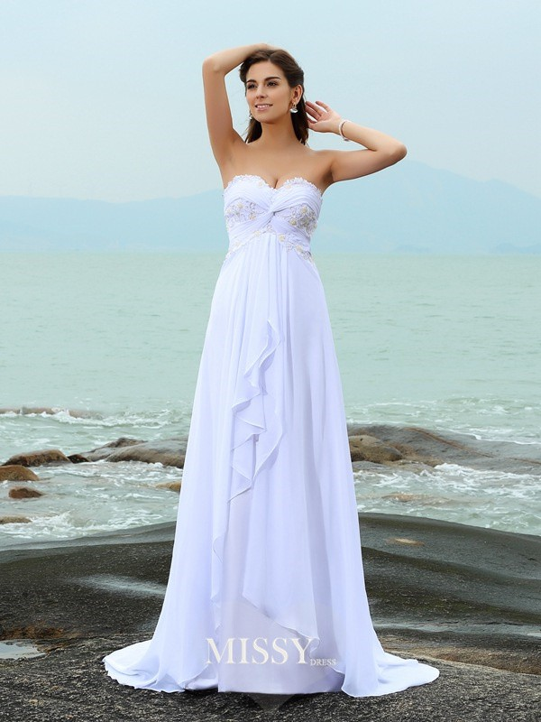 A-Line/Princess Sweetheart Beading Sweep/Brush Train Chiffon Wedding Dresses
