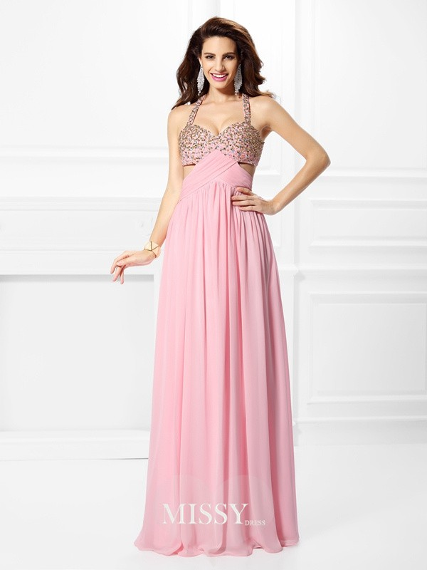 Straps Princess Beading Floor-Length Chiffon Dresses