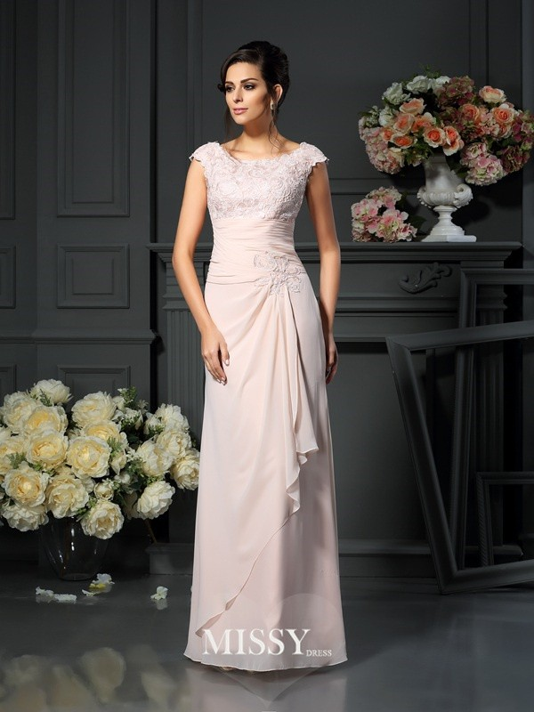 A-Line/Princess Scoop Sleeveless Floor-Length Lace Chiffon Mother of the Bride Gowns