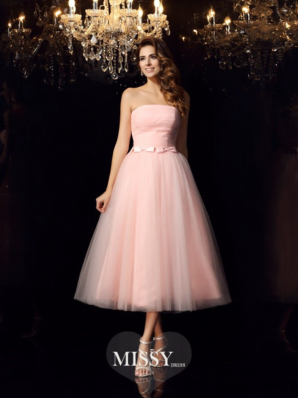 Ball Gown Strapless Satin Tea-Length Sash/Ribbon/Belt Dresses