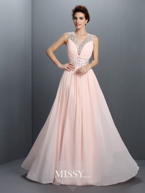 A-Line V-neck Sleeveless Beading Long Chiffon Dresses
