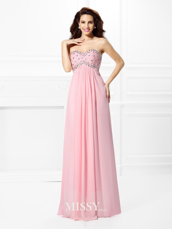 Sweetheart Princess Beading Floor-Length Chiffon Dresses
