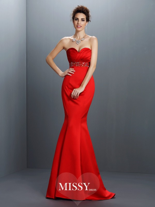 Trumpet/Mermaid Sleeveless Beading Sweep Satin Gowns