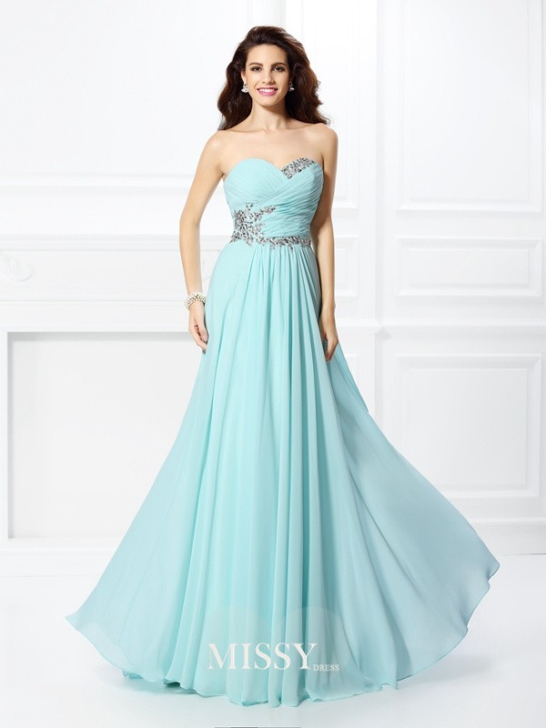 Princess Sweetheart Beading Chiffon Floor-Length Dresses