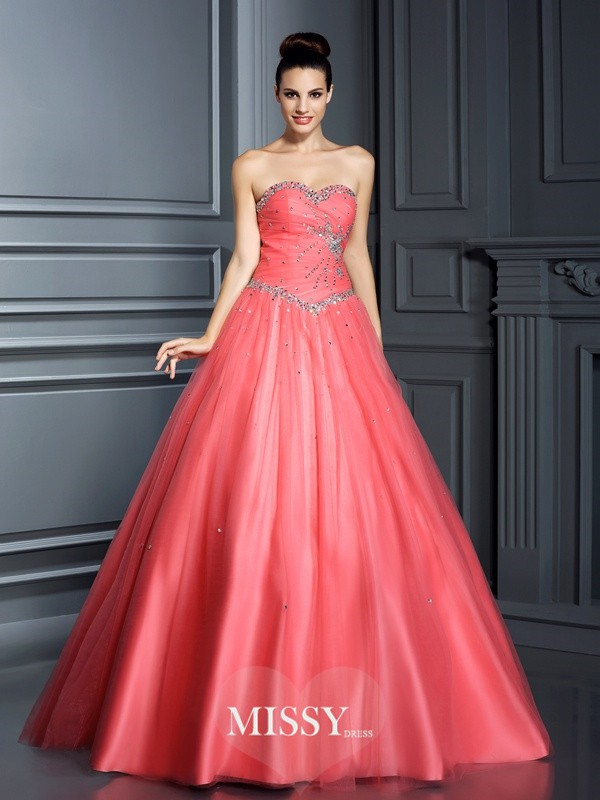 Ball Gown Sweetheart Beading Floor-Length Net Quinceanera Dresses