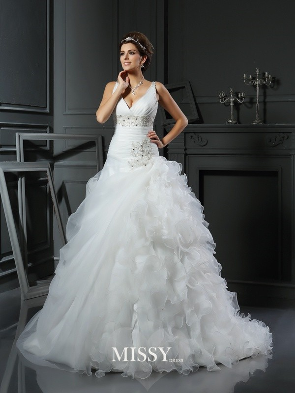 Ball Gown V-neck Court Train Ruffles Organza Wedding Dresses