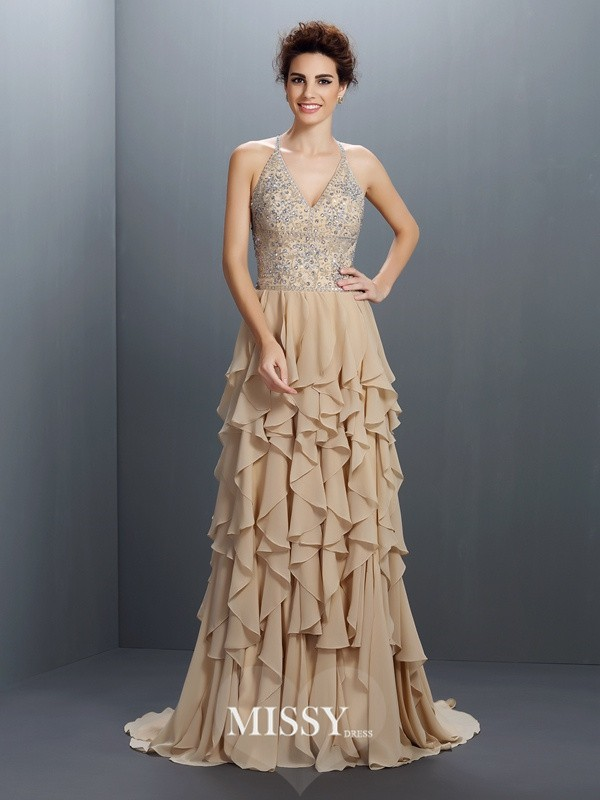 A-Line/Princess V-neck Sleeveless Beading Sweep Chiffon Dresses