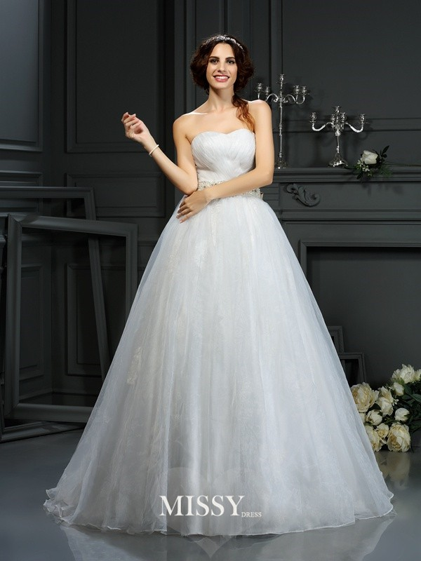 A-Line/Princess Sweetheart Court Train Applique Organza Wedding Dresses