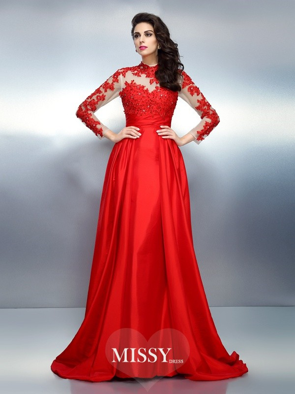 A-Line/Princess High Neck Long Sleeves Applique Sweep/Brush Train Satin Gowns