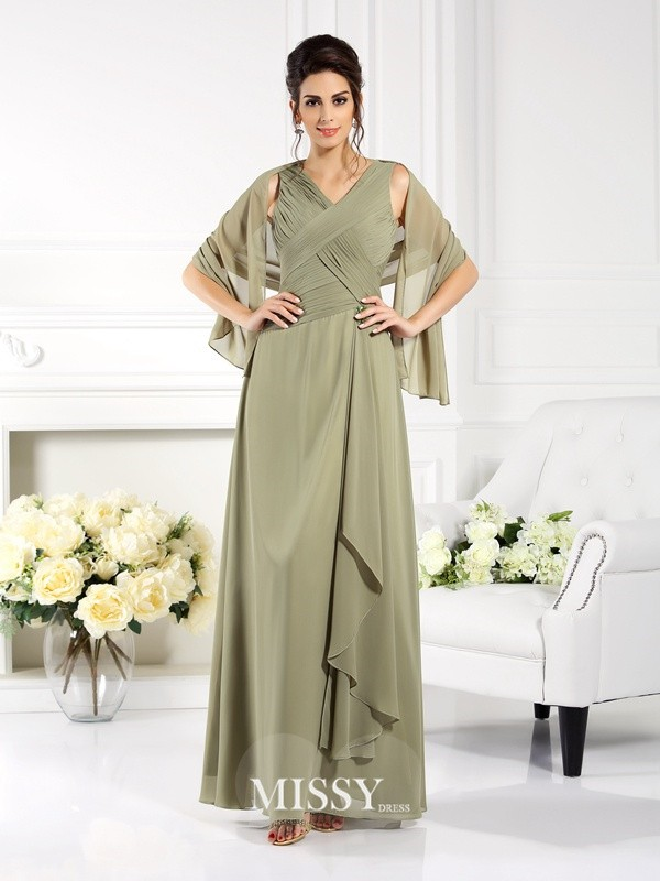 A-Line/Princess V-neck Sleeveless Pleats Floor-Length Chiffon Mother of the Bride Gowns