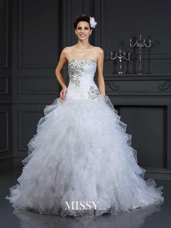 Ball Gown Strapless Beading Chapel Train Organza Wedding Dresses