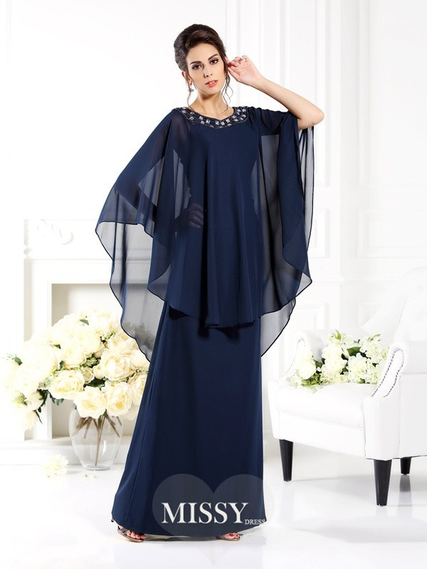 A-Line/Princess Scoop 3/4 Sleeves Floor-Length Chiffon Mother of the Bride Gowns