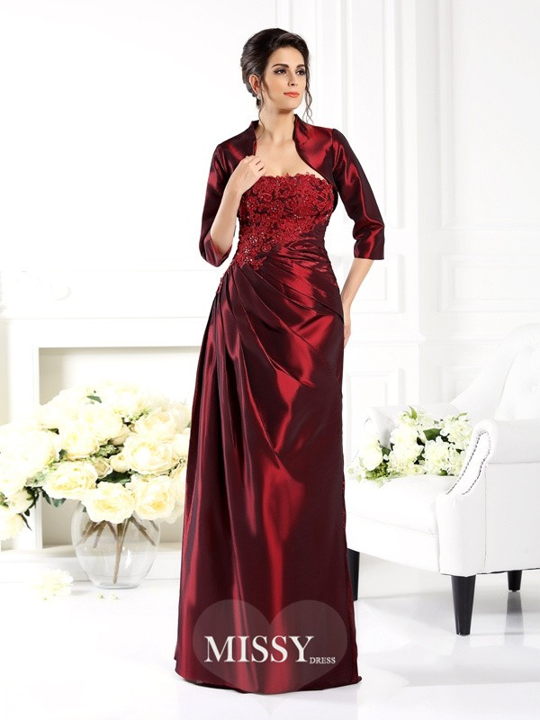 A-Line/Princess Strapless 1/2 Sleeves Applique Floor-Length Taffeta Mother of the Bride Gowns