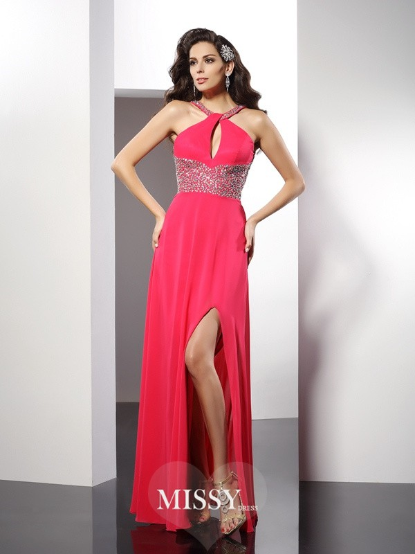 A-Line/Princess Scoop Beading Floor-Length Chiffon Dresses