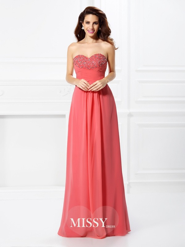 A-Line Sweetheart Floor-Length Chiffon Dresses