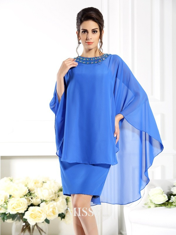 Sheath/Column Bateau 3/4 Sleeves Knee-Length Chiffon Mother of the Bride Gowns