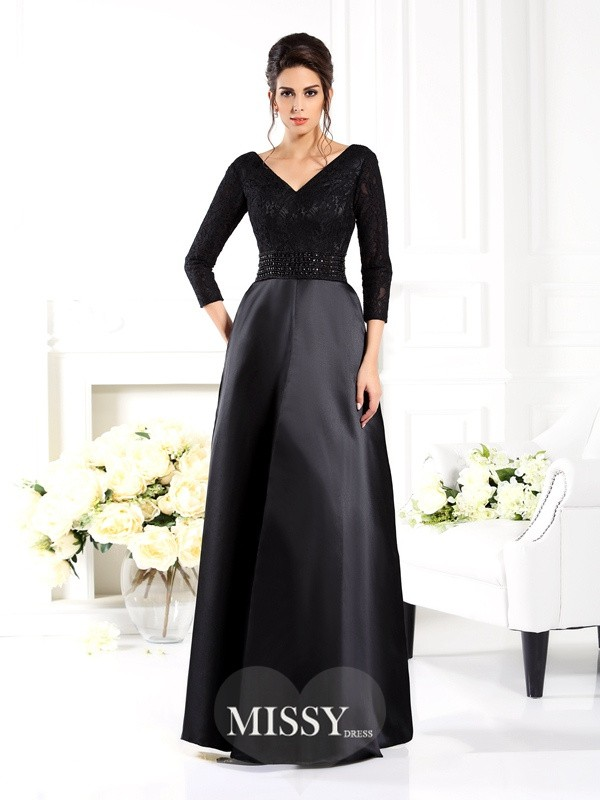 A-Line/Princess V-neck 3/4 Sleeves Beading Floor-Length Satin Mother of the Bride Gowns