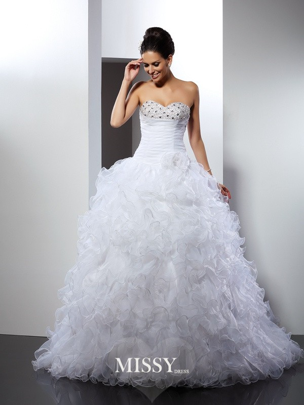 Ball Gown Sweetheart Beading Cathedral Train Organza Wedding Dresses