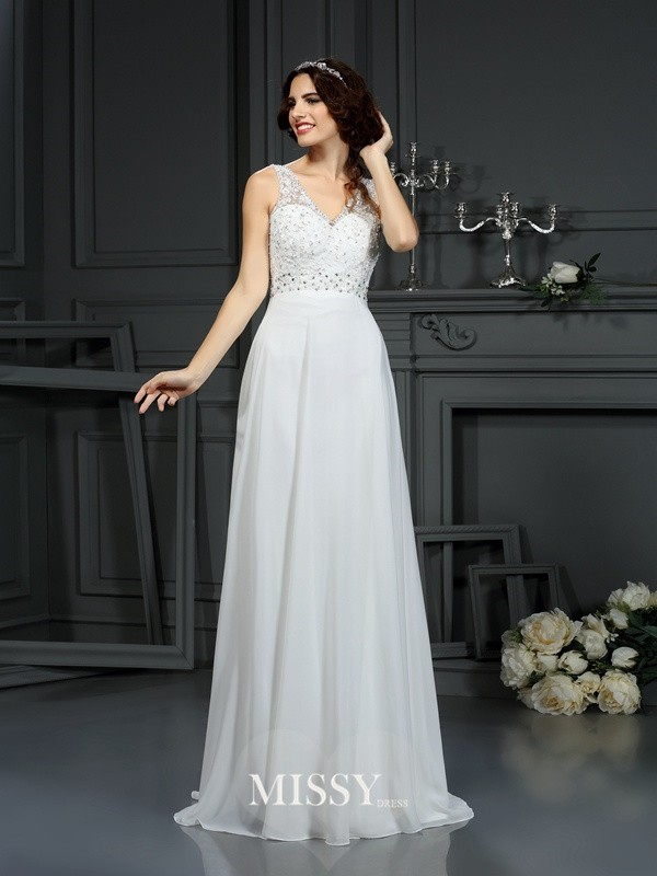 A-Line/Princess V-neck Sweep/Brush Train Lace Chiffon Wedding Dresses