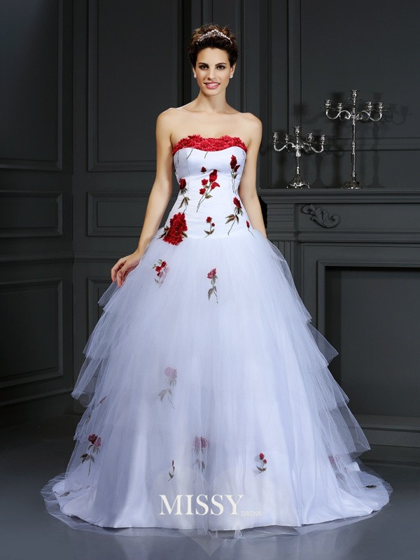 Ball Gown Strapless Hand-Made Flower Court Train Satin Wedding Dresses