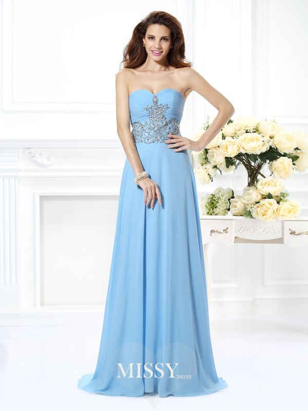 A-Line/Princess Sweetheart Beading Sweep/Brush Train Chiffon Gowns