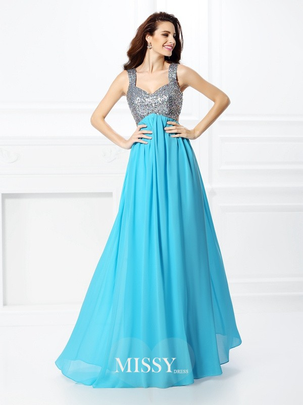 Princess Straps Beading Floor-Length Chiffon Dresses