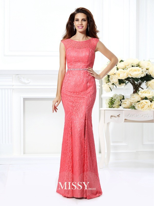 Trumpet/Mermaid Bateau Sleeveless Beading Floor-Length Lace Gowns