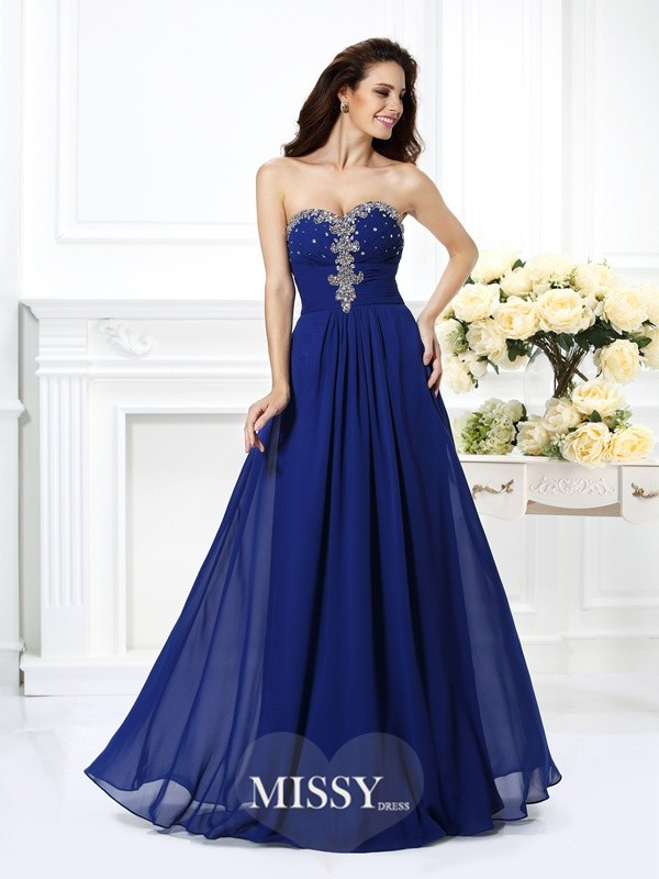 A-Line Sweetheart Beading Long Dresses