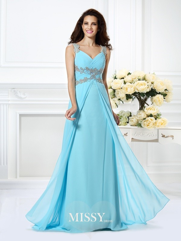 Princess V-neck Sleeveless Beading Long Chiffon Dress