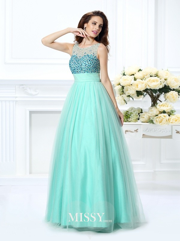 Ball Gown Bateau Beading Floor-Length Chiffon Dresses