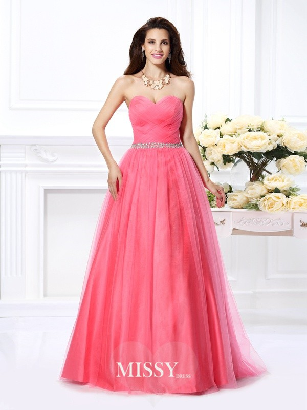 Ball Gown Sweetheart Pleats Beading Floor-Length Satin Dresses