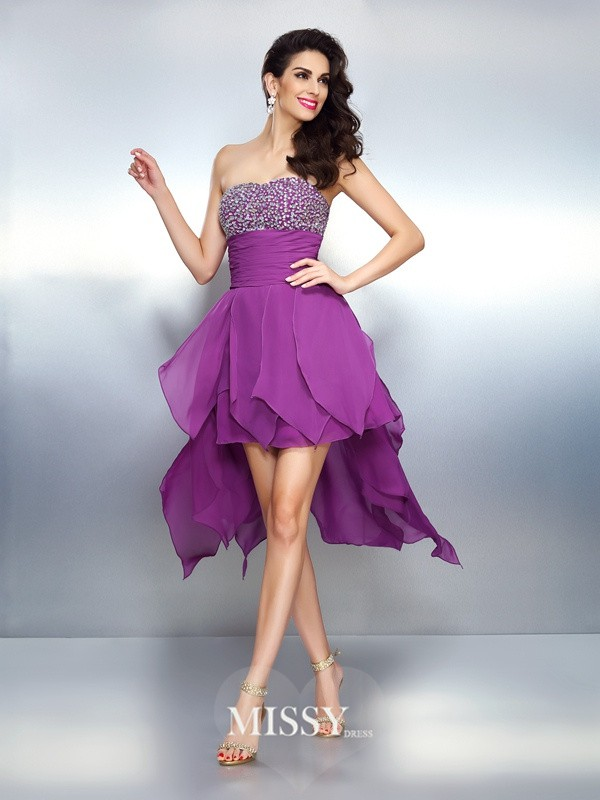 A-Line/Princess Strapless Sleeveless Beading Asymmetrical Chiffon Dress