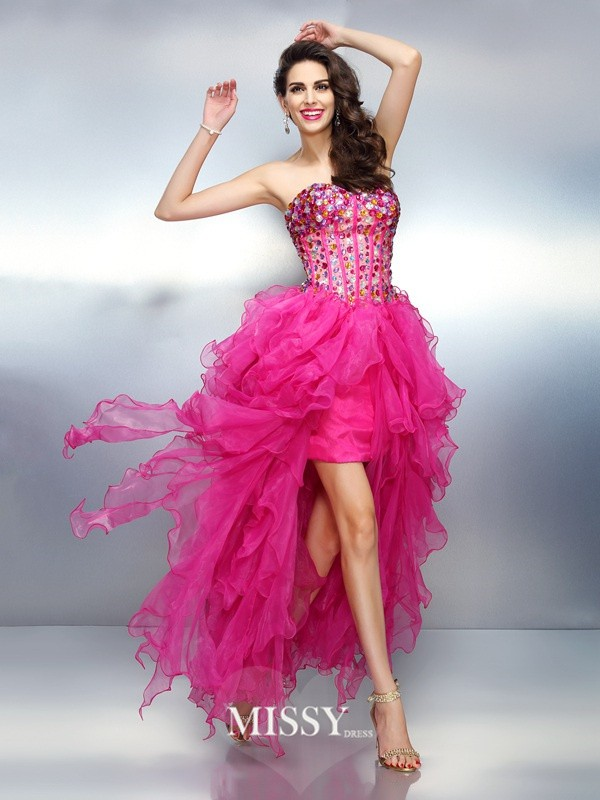 A-Line/Princess Sweetheart Sleeveless Rhinestone Asymmetrical Organza Dress
