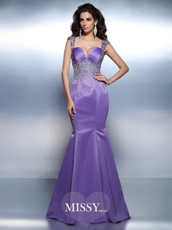 Trumpet/Mermaid Sweetheart Straps Beading Sweep/Brush Train Satin Dresses