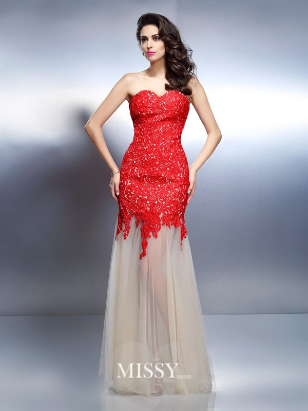 A-Line Sweetheart Sleeveless Applique Floor-Length Net Dresses